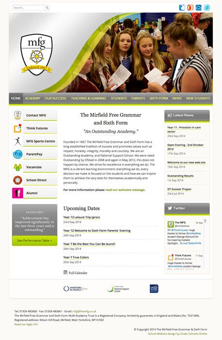 Enlarge The Mirfield Free Grammar & Sixth Form website design