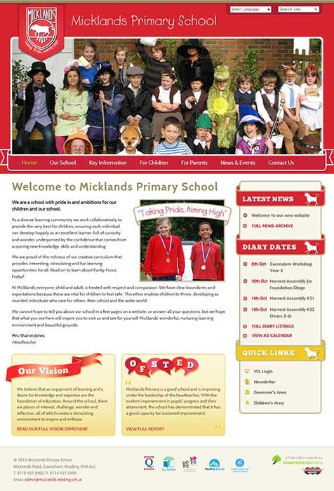 Enlarge Micklands Primary School website design