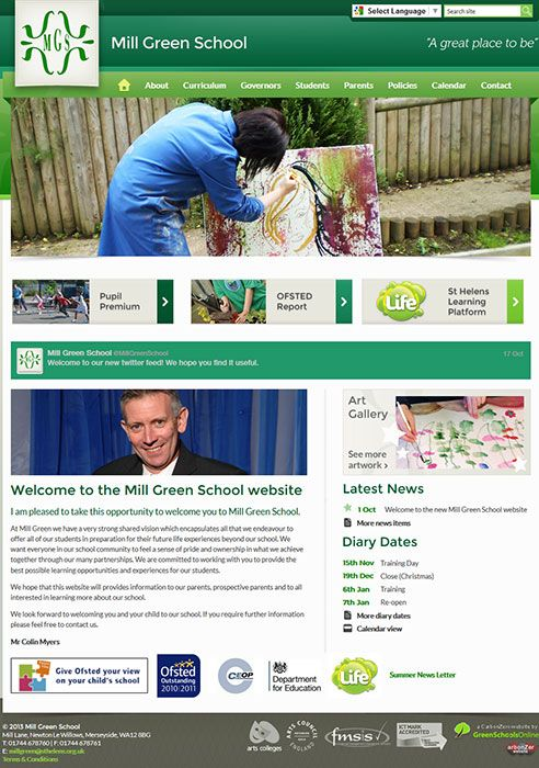 Enlarge Mill Green School website design