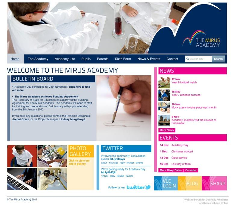 Enlarge Mirus Academy website design