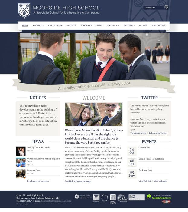 Enlarge Moorside High School website design