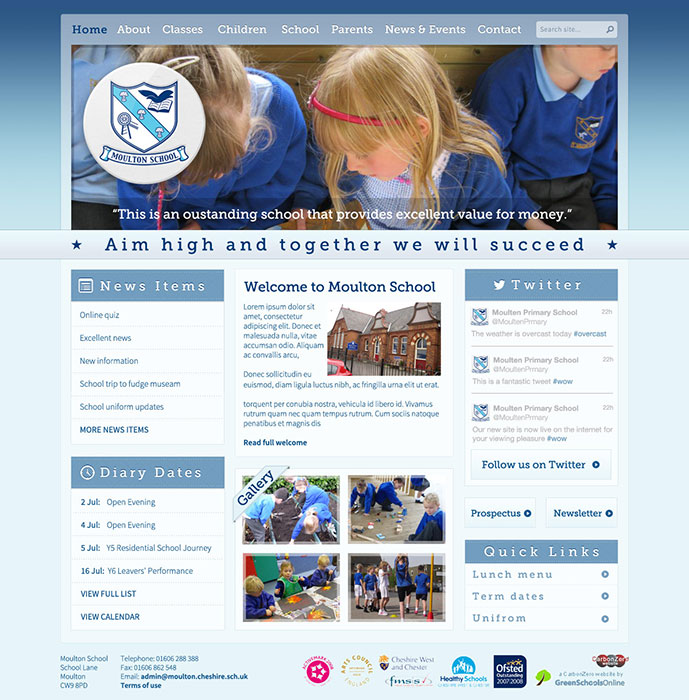 Enlarge Moulton School website design