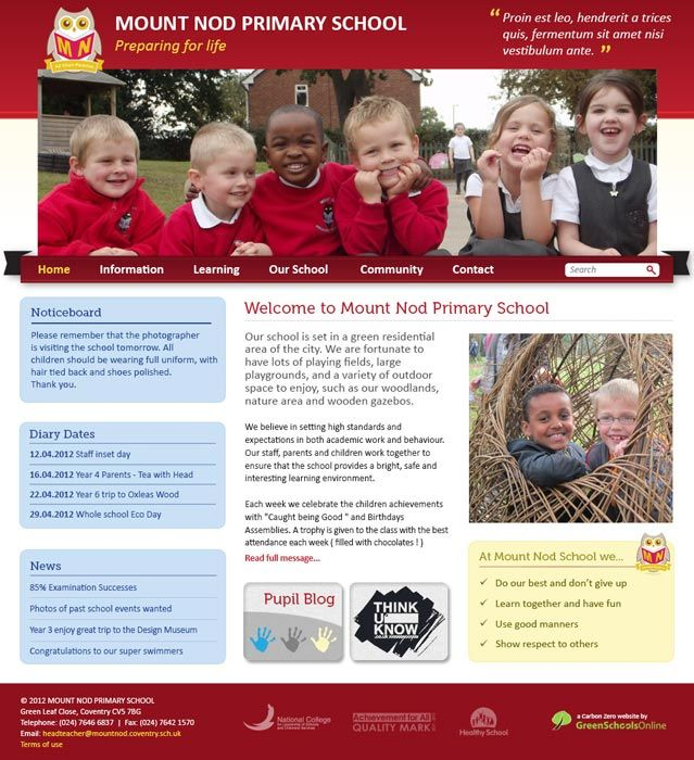 Enlarge Mount Nod Primary School website design