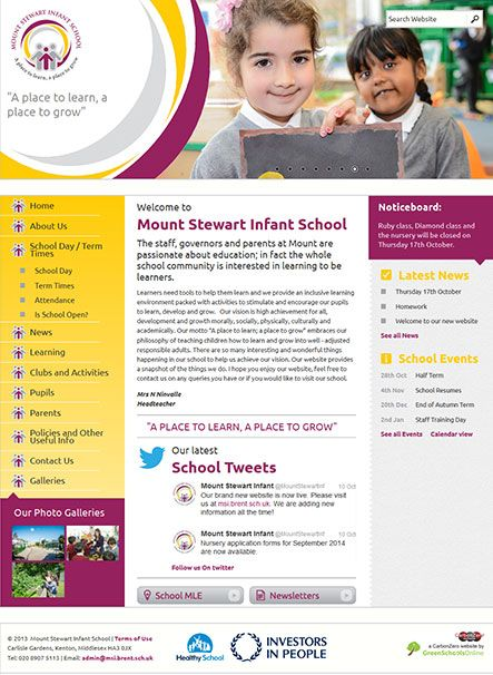 Enlarge Mount Stewart Infant School website design