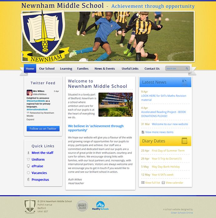 Enlarge Newnham Middle School website design