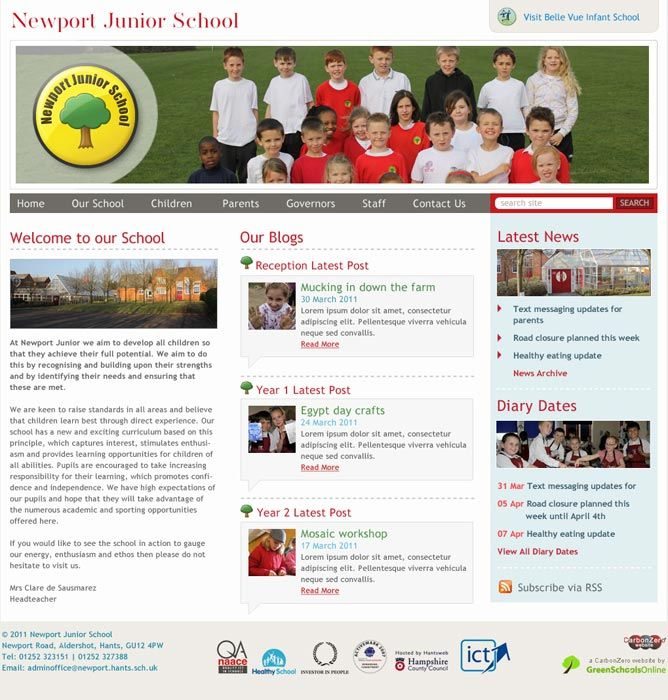 Enlarge Newport Junior School website design