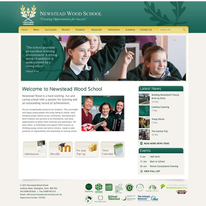 Enlarge Newstead Wood School website design