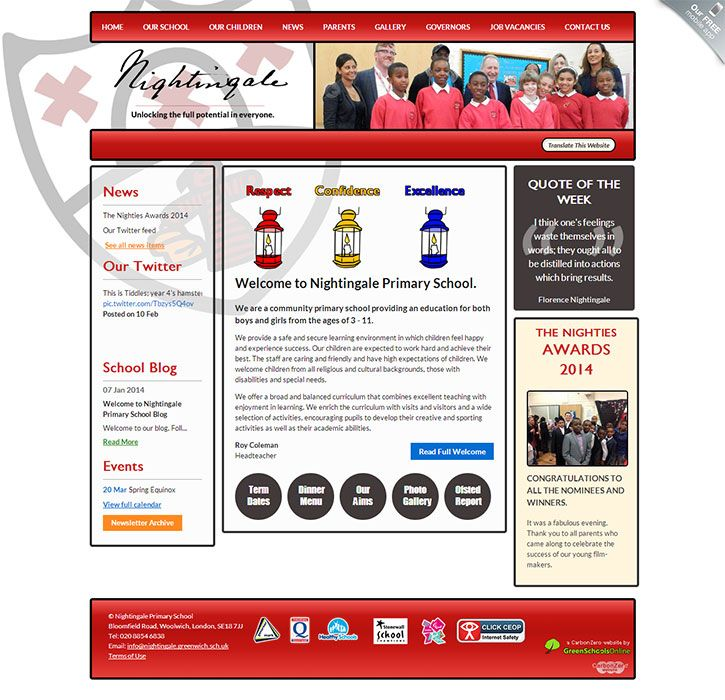 Enlarge Nightingale (Woolwich) website design