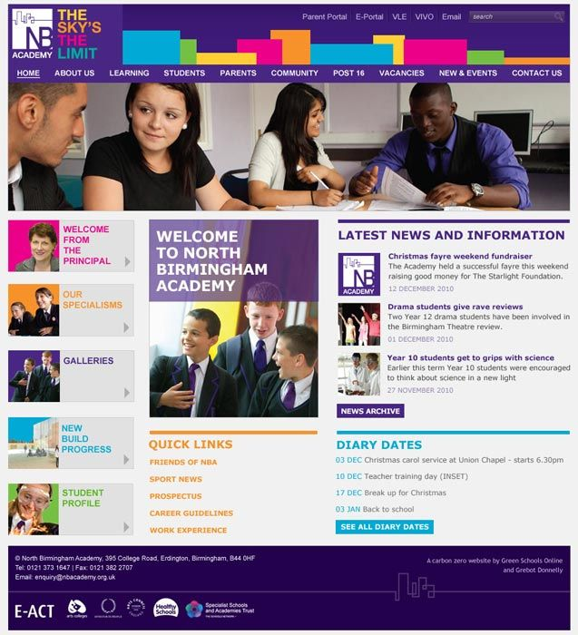 Enlarge North Birmingham Academy website design