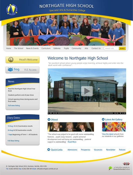 Enlarge Northgate High School website design