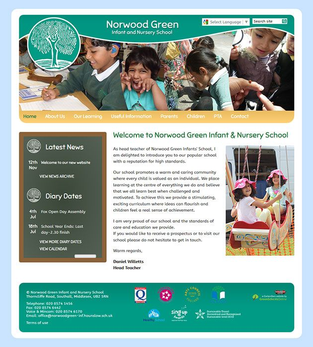 Enlarge Norwood Green Infant and Nursery School website design