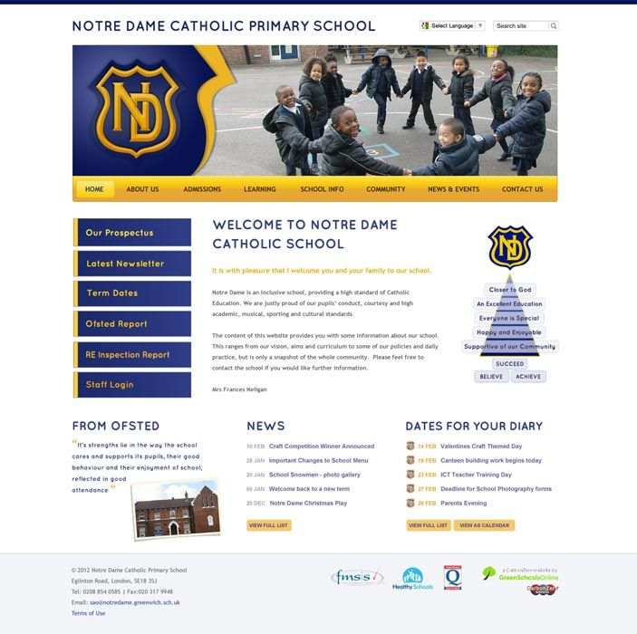 Enlarge Notre Dame Catholic Primary website design