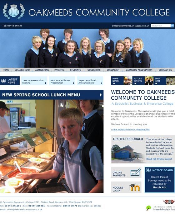 Enlarge Oakmeeds Community College website design