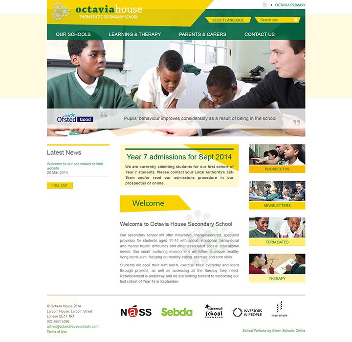 Enlarge Octavia House Secondary website design