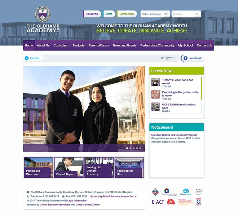 Enlarge Oldham Academy North website design