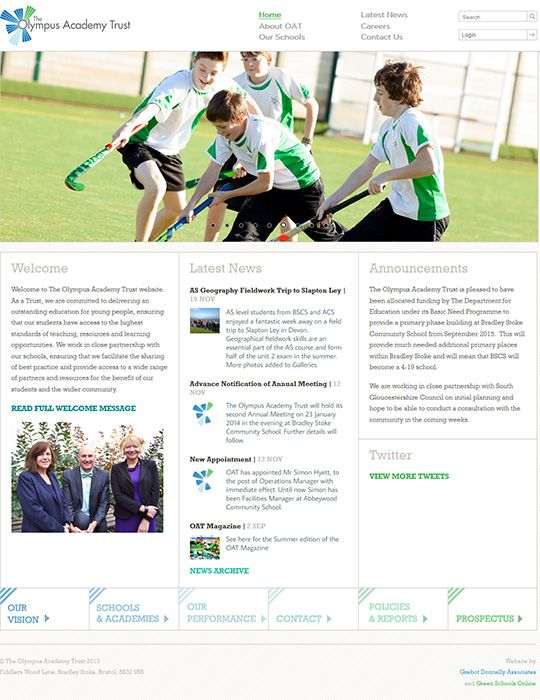 Enlarge Olympus Academies Trust website design