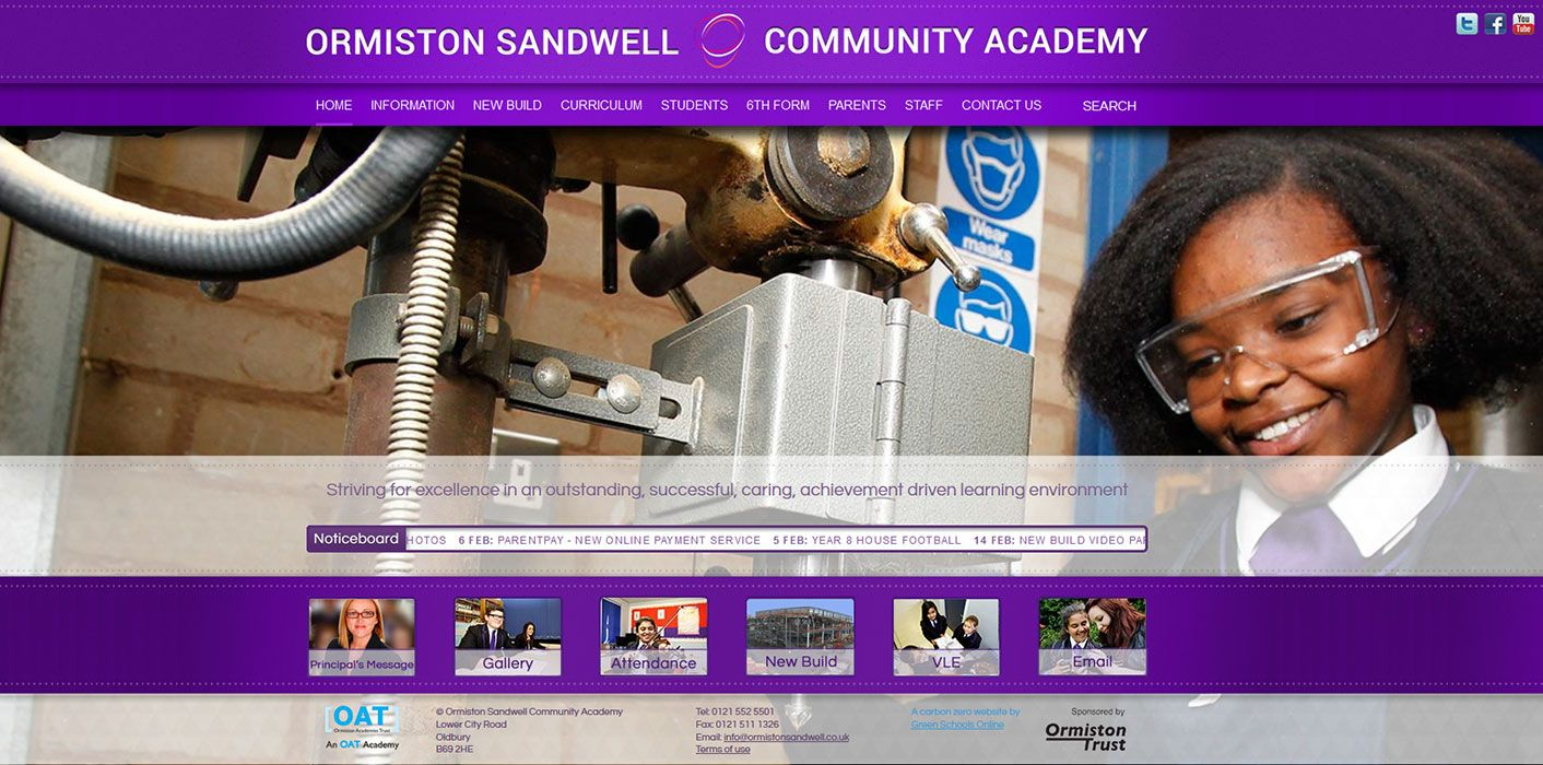 Enlarge Ormiston Sandwell website design
