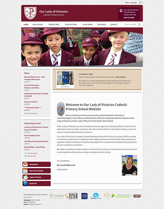 Enlarge Our Lady of Victories Catholic Primary School website design