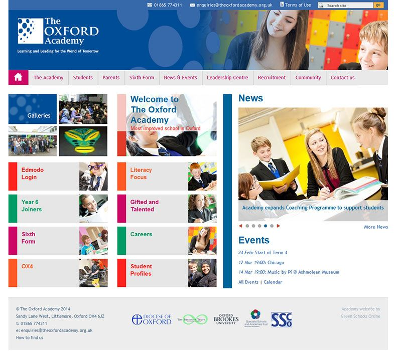 Enlarge Oxford Academy website design