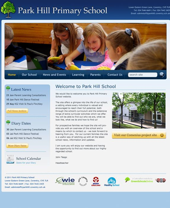 Enlarge Park Hill Primary School website design