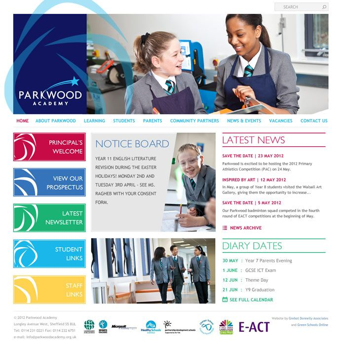 Enlarge Parkwood Academy website design