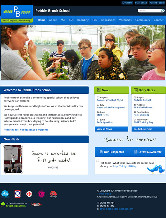 Enlarge Pebble Brook School website design