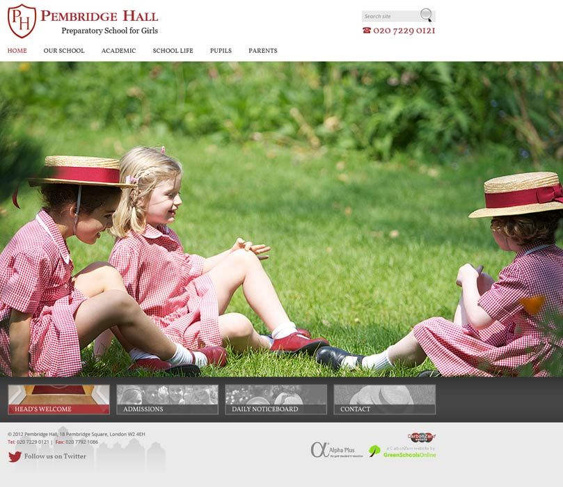 Enlarge Pembridge Hall School website design