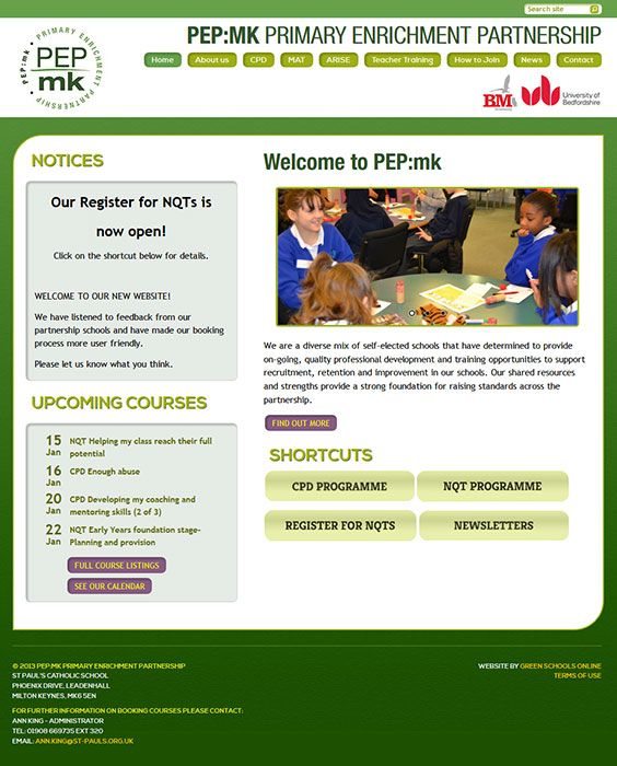 Enlarge PEP:mk Primary Enrichment Partnership website design