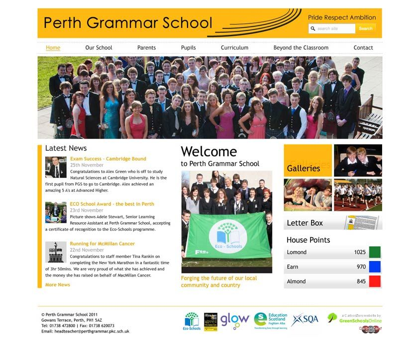 Enlarge Perth Grammar website design