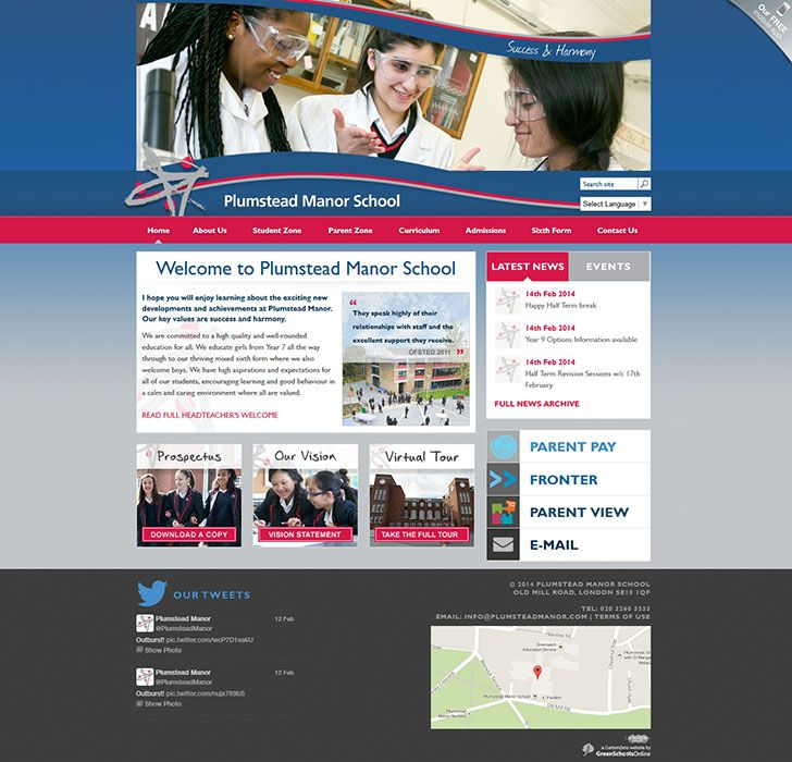 Enlarge Plumstead Manor School website design