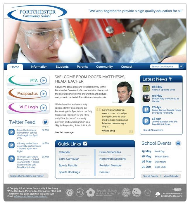 Enlarge Portchester Community School website design