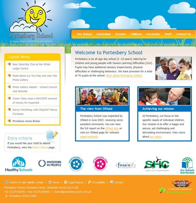 Enlarge Portesbery School website design