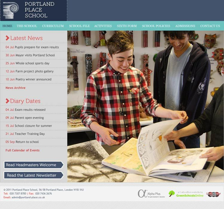 Enlarge Portland Place School website design