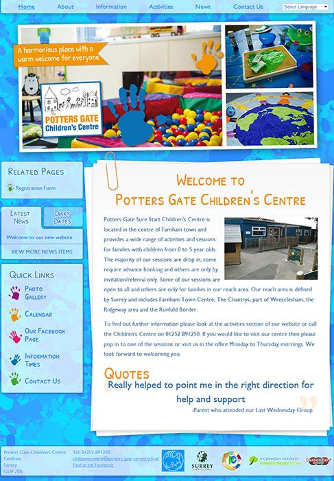 Enlarge Potters Gate Children's Centre website design