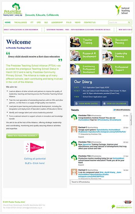Enlarge Prestolee Teaching School website design