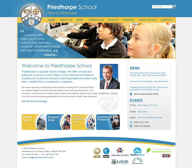 Enlarge Priesthorpe School website design