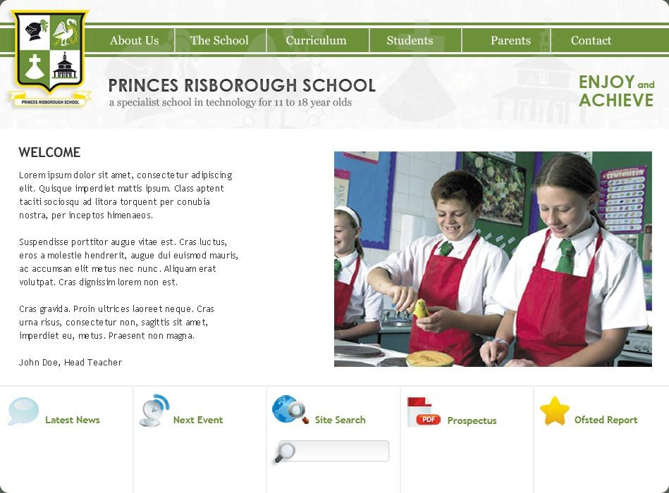 Enlarge Princes Risborough School website design