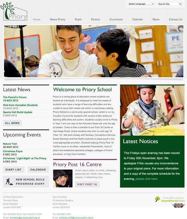 Enlarge The Priory School Croydon website design