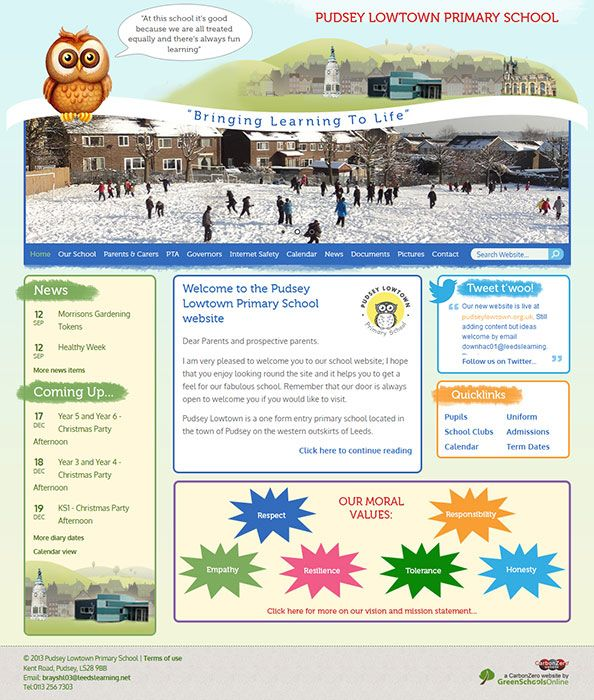 Enlarge Pudsey Lowtown Primary School website design