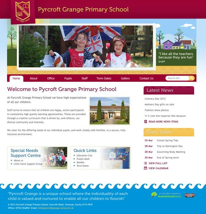 Enlarge Pyrcroft Grange Primary School website design