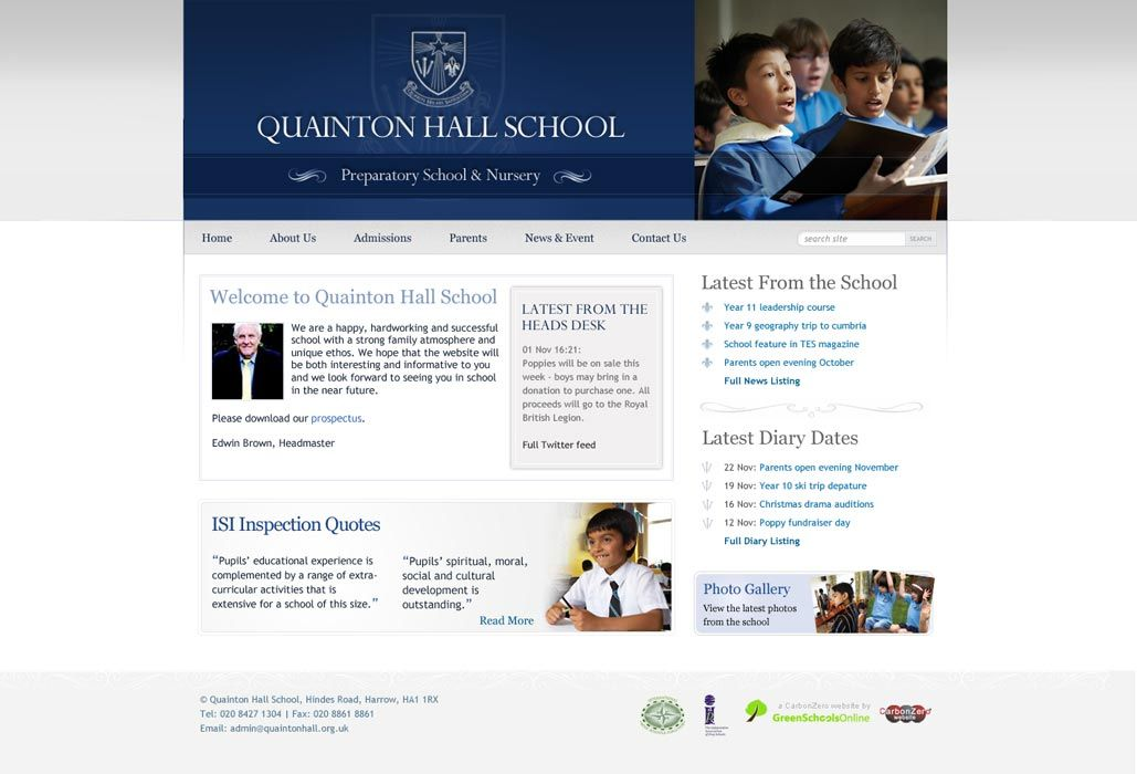 Enlarge Quainton Hall School website design