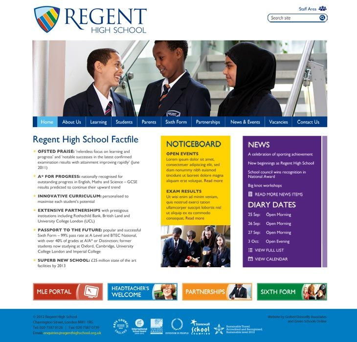 Enlarge Regent High School website design