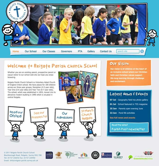 Enlarge Reigate Parish Church School website design