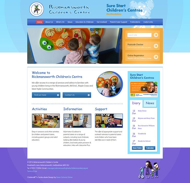 Enlarge Rickmansworth Children's Centre website design