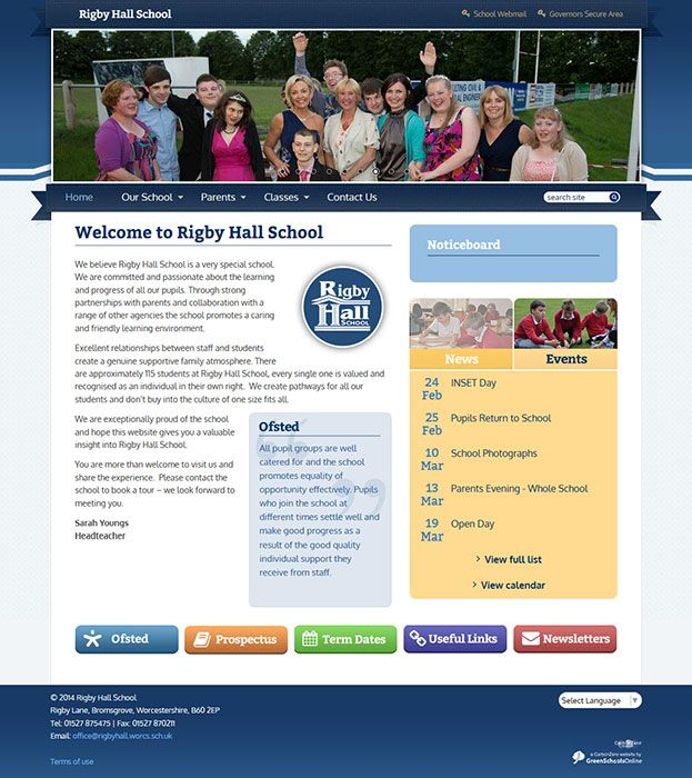 Enlarge Rigby Hall School website design