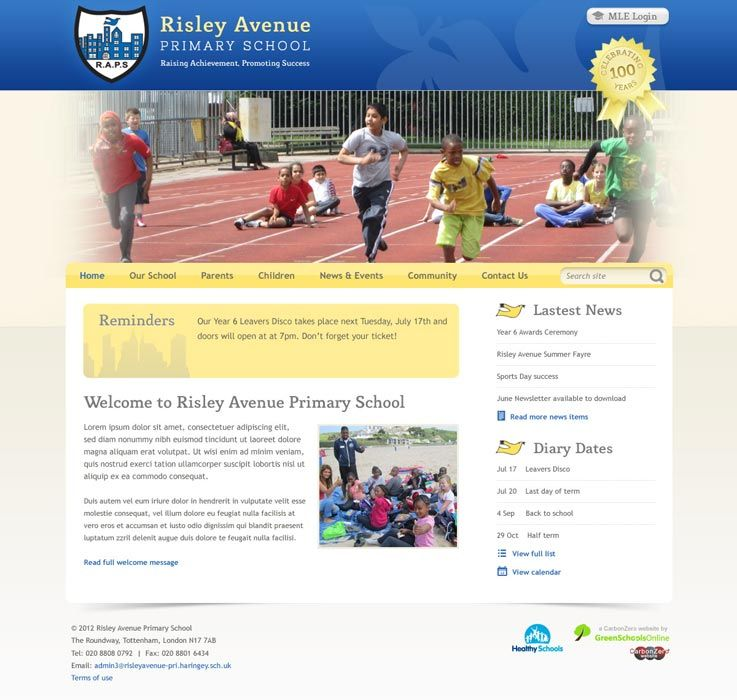 Enlarge Risley Avenue Primary School website design