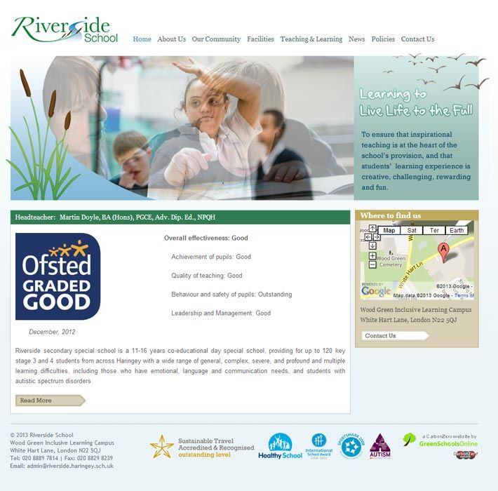 Enlarge Riverside School (Haringey) website design