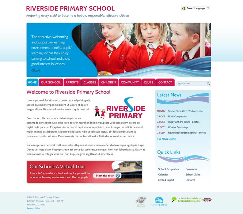 Enlarge Riverside Primary School (Hereford) website design