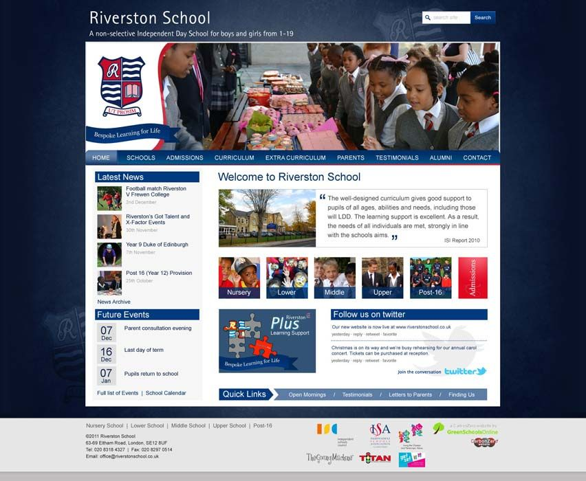 Enlarge Riverston School website design
