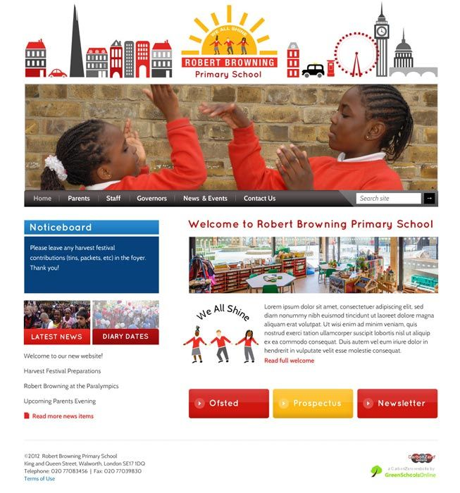 Enlarge Robert Browning Primary School website design